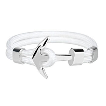 Silver plated Anchor Charm White Rope Bracelet