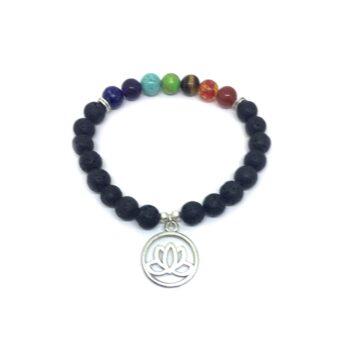 Lotus charm Lava Chakra Bracelet