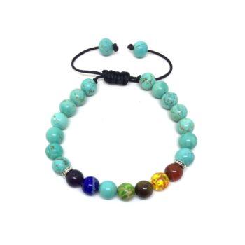 Turquoise Bead Chakra Braided Bracelet
