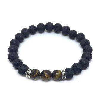Three Tiger Eye & Lava Bead Chakra Bracelet