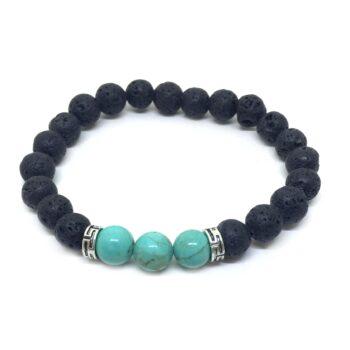 Three Turquoise & Lava Bead Chakra Bracelet