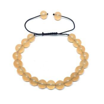 Natural Citrine Braided Bead Bracelet