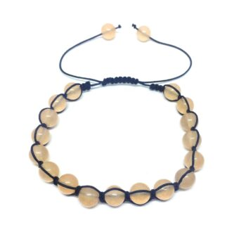 Braided Natural Citrine Bead Bracelet