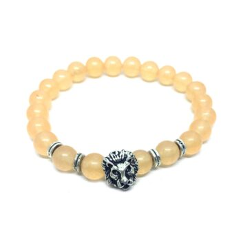 Lion Natural Citrine Bead Bracelet