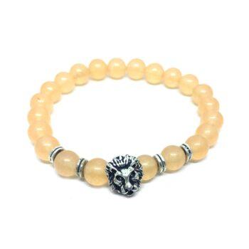 Lion Natural Citrine Bead Bracelet