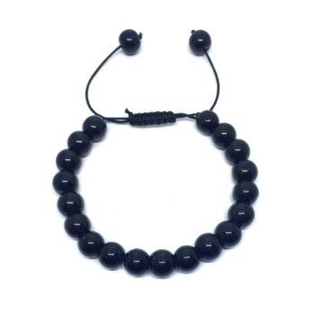 Natural Black Tourmaline Braided Bead Bracelet