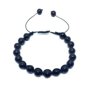Braided Natural Black Tourmaline Bead Bracelet