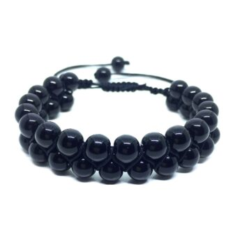 Braided Bead Black Tourmaline Bracelet
