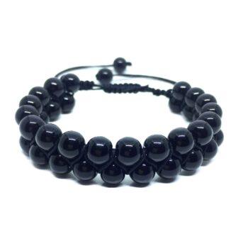 Braided Bead Black Tourmaline Bracelet