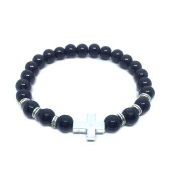 Cross Natural Black Tourmaline Bead Bracelet