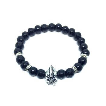 Helmet Natural Black Tourmaline Bead Bracelet