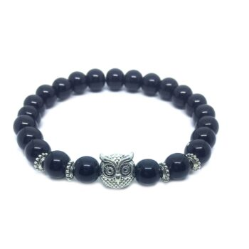 Owl Bead Natural Black Tourmaline Bracelet