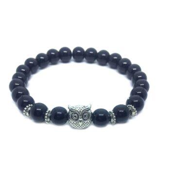 Owl Bead Natural Black Tourmaline Bracelet