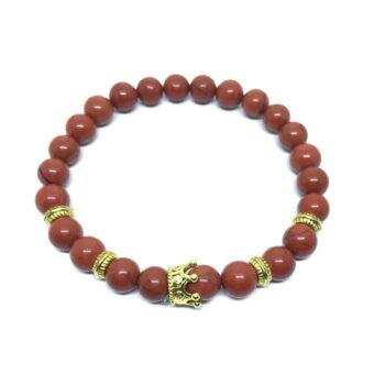 Crown Bead Natural Jasper Bracelet
