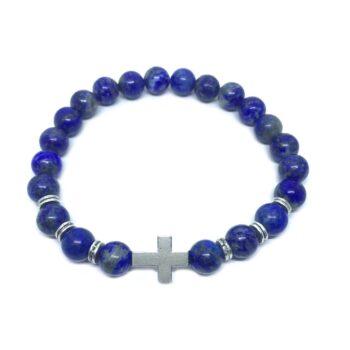 Cross Natural Lapis Lazuli Bracelet