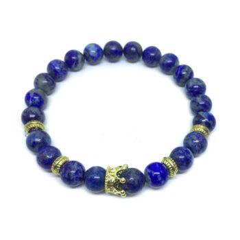 Crown Bead Natural Lapis Lazuli Bracelet