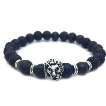 Lion Natural Lava Bead Bracelet