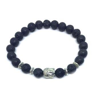 Buddha Natural Lava Bead Bracelet