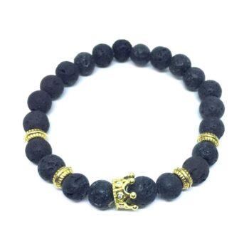 Crown Bead Natural Lava Bracelet