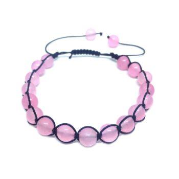 Braided Natural Rose Quartz Bead Bracelet