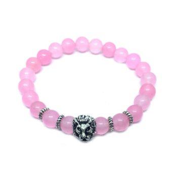 Lion Natural Rose Quartz Bead Bracelet