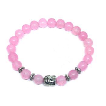 Buddha Natural Rose Quartz Bead Bracelet