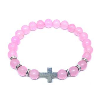 Cross Natural Rose Quartz Bracelet
