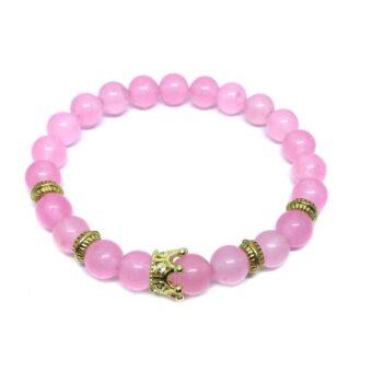 Crown Bead Natural Rose Quartz Bracelet