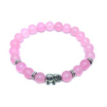 Elephant Bead Natural Rose Quartz Bracelet