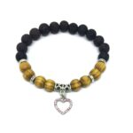 Pink Crystal Heart Charm Lava & Wooden Bracelet