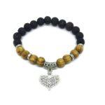 Crystal Heart Charm Lava & Wooden Bracelet