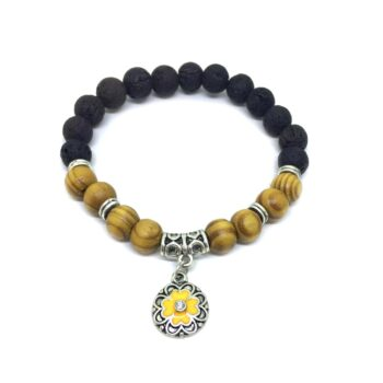 Enamel Flower Charm Lava & Wooden Bracelet