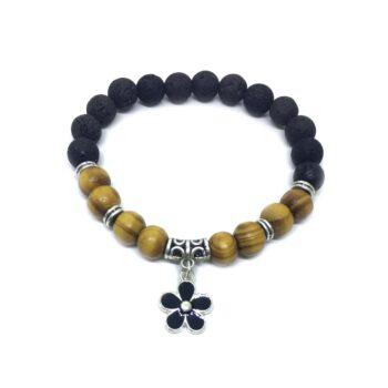 Black Enamel Flower Charm Lava & Wooden Bracelet