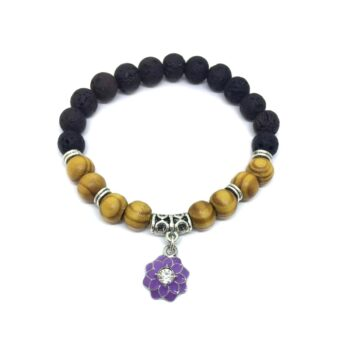 Enamel Flower Charm Lava & Wooden Bracelet for Women