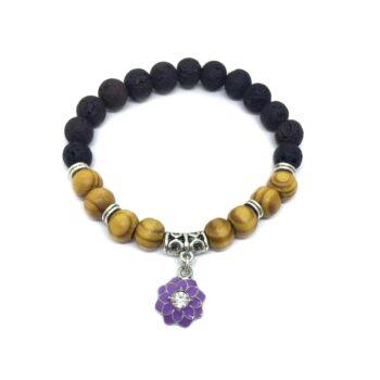 Enamel Flower Charm Lava & Wooden Bracelet for Women