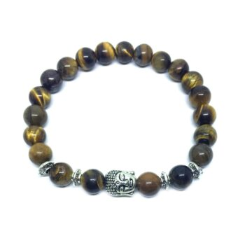 Buddha Natural Tiger Eye Bead Bracelet