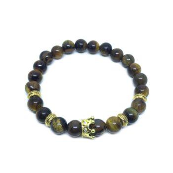 Crown Bead Natural Tiger Eye Bracelet