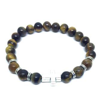 Cross Bead Natural Tiger Eye Bracelet