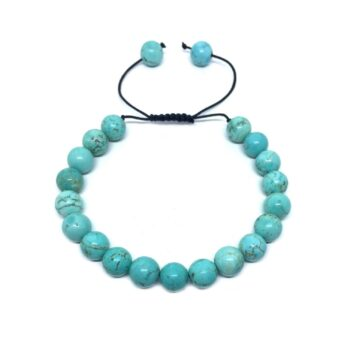 Natural Turquoise Braided Bead Bracelet