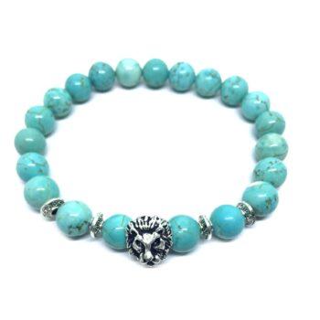Lion Natural Turquoise Bead Bracelet