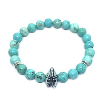 Helmet Natural Turquoise Bead Bracelet