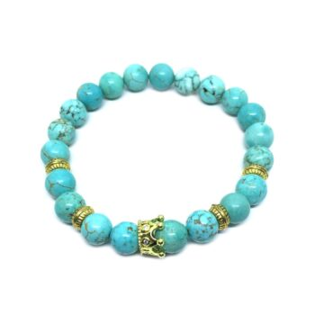 Crown Bead Natural Turquoise Bracelet