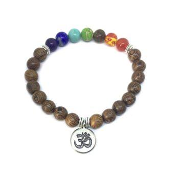 OM Wooden Chakra Bracelet