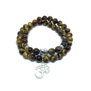 OM & Buddha Charm Wooden Bracelet