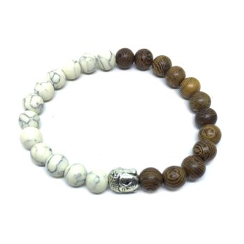 Buddha Howlite & Wooden Bracelet