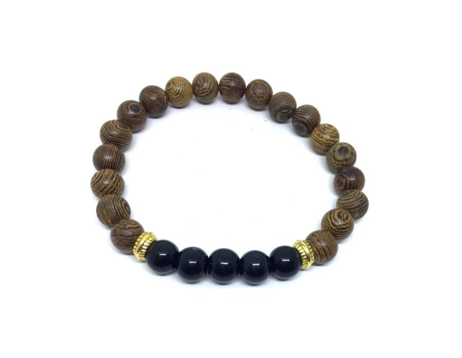 Hematite & Wood Bead Bracelet