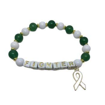 White & Green Bead FIGHTER Awareness Bracelet