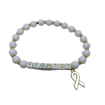 White Bead FIGHTER Awareness Bracelet