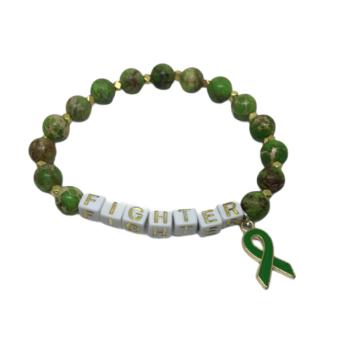 Natural Jasper Green Bead FIGHTER Awareness Bracelet