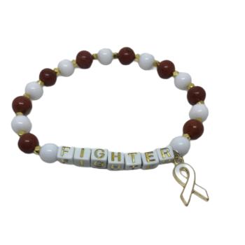 White & Red Bead FIGHTER Awareness Bracelet